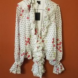 NWT NBD Cherry Pie Ruffled Blouse/Shirt/Top